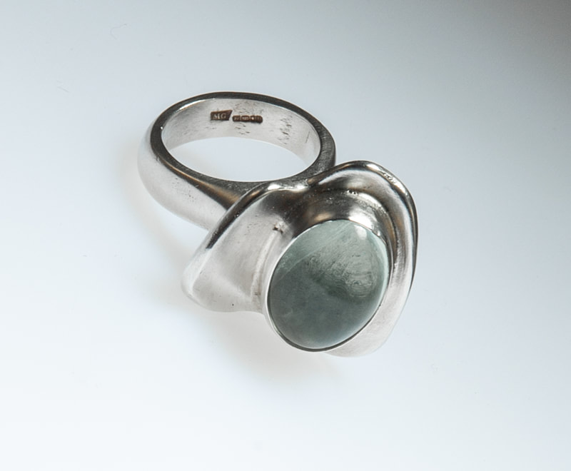 Sterling silver Green stone Fluorite Signature ring
